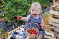 meisje die aardbeien op aardbeigebied eten royalty-vrije stock foto