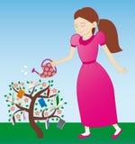 Meisje die de boom water geven Royalty-vrije Stock Afbeelding