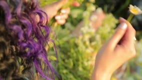 Meisje die door een weide en lijnen door wildflowers lopen stock video