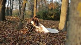 Meisje die een boek in park, vrouw lezen, stock footage