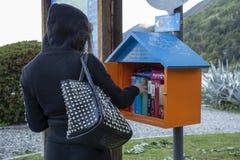 Meisje die een boek van een kleine bibliotheek kiezen kostenloos te lezen stock afbeeldingen