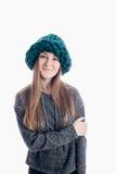 Meisje die een dikke hoed dragen Royalty-vrije Stock Afbeeldingen