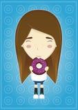 Meisje die een doughnut eten Royalty-vrije Stock Afbeeldingen