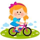 Meisje die een fiets berijden bij het park stock illustratie