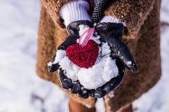 Meisje die een houten rode haard houden stock fotografie
