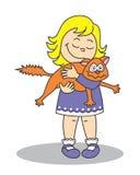 Meisje die een kat houden vector illustratie