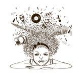 Meisje die een musicus dromen te zijn royalty-vrije illustratie