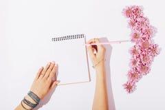 Meisje die in een notitieboekje roze potlood schrijven Stock Afbeeldingen