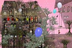 Meisje die in een tuin naast een groot huis met roze hemel lopen stock illustratie