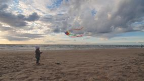 Meisje die een vlieger op het strand vliegen stock video