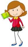 Meisje die groen boek houden Royalty-vrije Stock Afbeeldingen