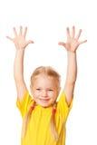 Meisje die haar handen omhoog opheffen. Royalty-vrije Stock Foto's