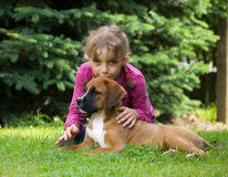 Meisje met puppy Royalty-vrije Stock Afbeeldingen
