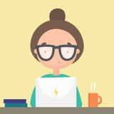 Meisje die in haar laptop werken royalty-vrije illustratie