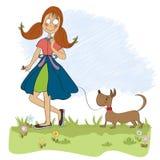 Meisje die haar lopen weinig hond vector illustratie