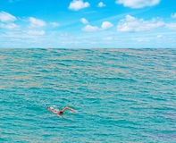 Meisje die in het overzees zwemmen Royalty-vrije Stock Foto's