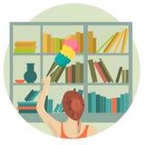 Meisje die het schoonmaken in vlak ontwerp maken vector illustratie