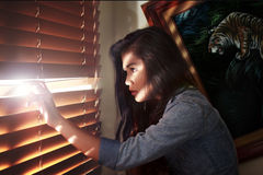 Meisje die in het venster gluren Royalty-vrije Stock Afbeelding