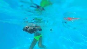 Meisje die in het zwembad springen en vangend opblaasbare vlotter stock videobeelden