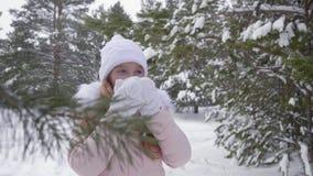 Meisje die hete thee in de winterbos drinken stock video
