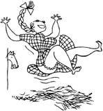 Meisje die in Hooi springen stock illustratie