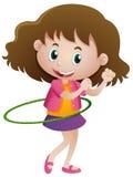 Meisje die hulahoop alleen spelen vector illustratie