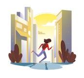 Meisje die longboard in de stad bij zonsondergang berijden Vector illustratie Stock Foto