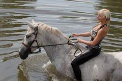 Meisje die met haar paard in rivier zwemmen Stock Afbeeldingen
