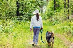 Meisje die met hond in het bos lopen Stock Afbeelding