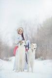 Meisje die met twee windhonden in de winter lopen Stock Afbeelding