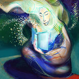 Meisje die mooi boek lezen, die op papier trekken Stock Foto