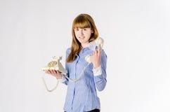 Meisje die op de telefoon spreken Stock Fotografie