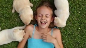 Meisje die op het gras liggen en met de puppy van Labrador spelen stock videobeelden