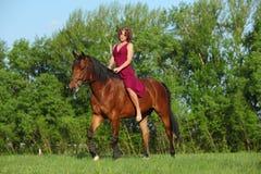 Meisje die op rug van een Duitse poney in een weide berijden Royalty-vrije Stock Fotografie