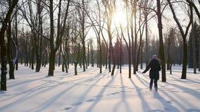 Meisje die op snow-covered park lopen stock videobeelden