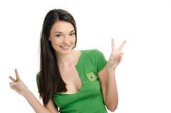 Meisje die overwinning voor Brazilië ondertekenen. Royalty-vrije Stock Afbeelding