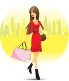 Meisje die in stad winkelen Stock Afbeelding