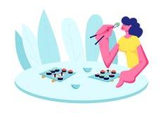 Meisje die sushi in restaurant eten De jonge Gelukkige Vrouwelijke Eetstokjes die van de Karakterholding bij Lijst met Japans Voe stock illustratie