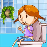 Meisje die toilet gebruiken Stock Foto's