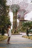 Meisje die Tuinen onderzoeken door de Baai in Singapore Stock Afbeeldingen