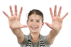 Meisje die twee handen tonen Stock Afbeelding