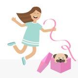 Meisje die voor vreugde springen Giftdoos met puppypug hondzwabbers Gelukkige kindsprong Leuk beeldverhaal lachend karakter in bl Royalty-vrije Stock Afbeelding