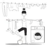 meisje die yoga in de badkamers doen wassenkleren in de wasmachine royalty-vrije illustratie