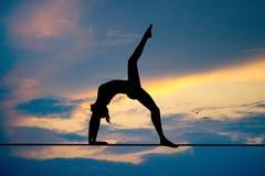 Meisje die yoga op draad doen royalty-vrije illustratie