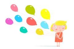 Meisje die zich met ballons bevinden royalty-vrije illustratie