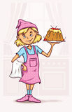 Meisje die zoete cake koken bij de keuken Royalty-vrije Stock Foto
