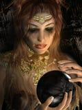 Meisje die zwarte orb houden royalty-vrije illustratie