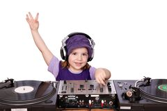 Meisje DJ stock foto's