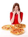 Meisje door de pizza's wordt geschokt die Royalty-vrije Stock Foto