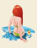 Meisje door de pool Stock Afbeeldingen